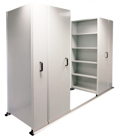 Empty 6 bay mobile shelving Compactor