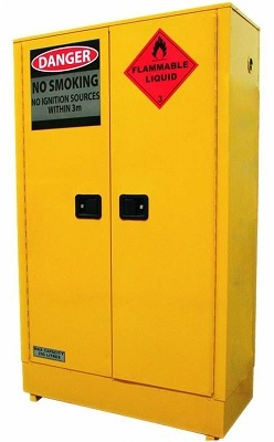 Bright yellow Flammable Storage Cabinet with closed doors.