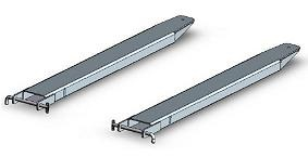 Isometric sketch of silver coloured forklift slippers