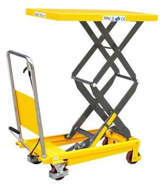 Yellow coloured Lift Table Trolley with raised deck