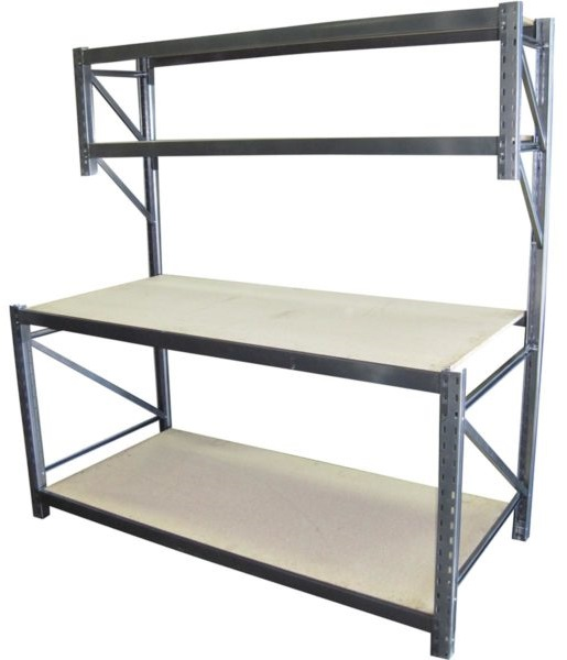 Four tier grey Workbench made from Longspan Shelving materials.