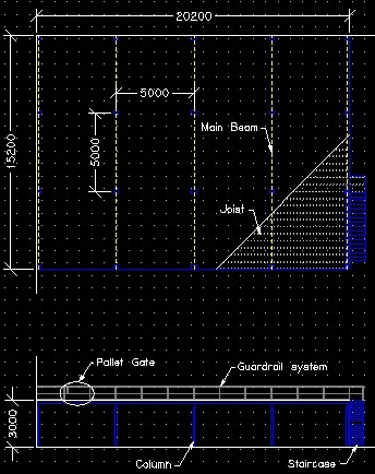 Examples of plan and elevation Mezzanine Floor drawings.