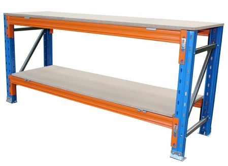 Two tier blue and orange Workbench made from Pallet Racking materials