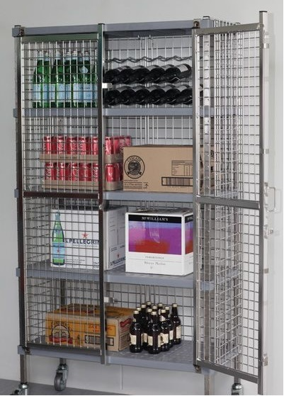 Silver coloured Security Cage Steel Cabinet with one door open.