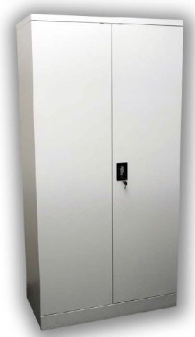Light grey Steel Stationery Cabinet with doors closed