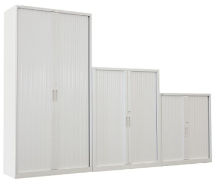 Three sizes of white Tambour Door Steel Cabinets standing beside one another.